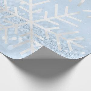 Snowflakes Christmas Holiday Gray Blue Glitter Wrapping Paper