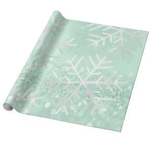 Snowflakes Christmas Holiday Gray Glitter Wrapping Paper