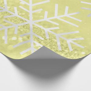 Snowflakes Christmas Holiday Gray Yellow Glitter Wrapping Paper