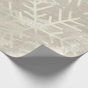 Snowflakes Christmas Holiday Ivory Marble Creamy Wrapping Paper