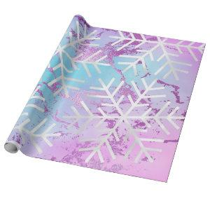 Snowflakes Christmas Holiday Marble Purple Blue Wrapping Paper