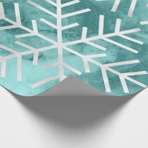 Snowflakes Christmas Holiday Marble Teal Aqua Wrapping Paper