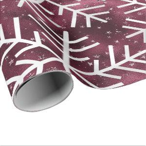 Snowflakes Christmas Holiday Merry Burgund Glitter Wrapping Paper