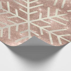 Snowflakes Christmas Holiday Rose Spark  Glitter Wrapping Paper