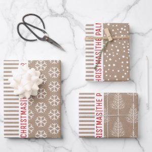 Snowflakes, Christmas trees, brown kraft stripes Wrapping Paper Sheets