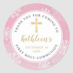 Snowflakes Light Pink Gold First Holy Communion Classic Round Sticker