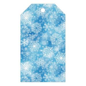 Snowflakes on blue gift tags