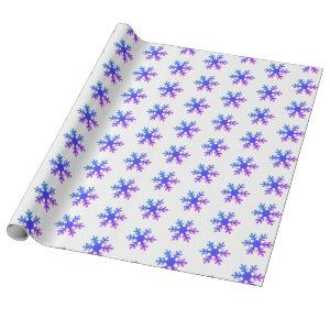 Snowflakes Purple Christmas Holiday Wrapping Paper
