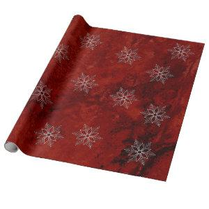 Snowflakes Scattered on Red Marble Wrapping Paper