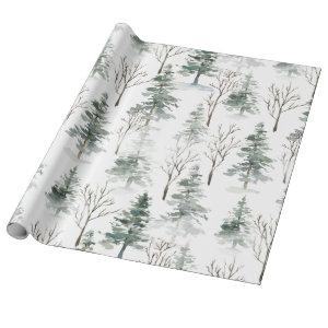 Snowy Winter Trees Pattern Wrapping Paper
