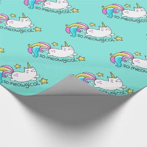 So Meowgical Cute Unicorn kitty glitter sparkles Wrapping Paper