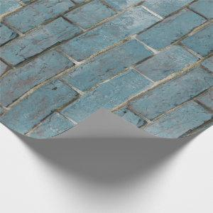 Soft Blue Brick Wall Pattern Wrapping Paper