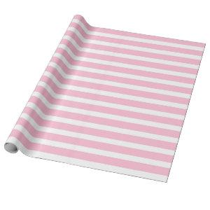 Soft Pink and White Stripes Wrapping Paper
