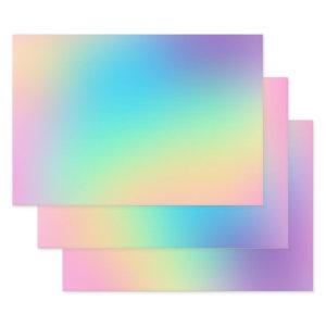 Soft Prismatic Pastel Gradient Wrapping Paper Sheets