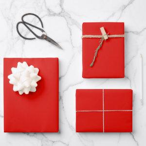Solid Holly Red Wrapping Paper Sheets