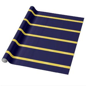 Solid Navy Blue, Pineapple Ribbon Name Monogram Wrapping Paper