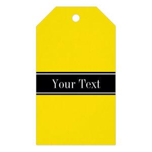 Solid Yellow, Black Ribbon Name Monogram Gift Tags