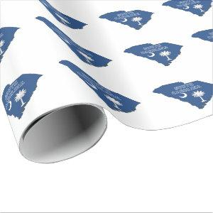 South Carolina Outline Map Shaped State Flag Wrapping Paper