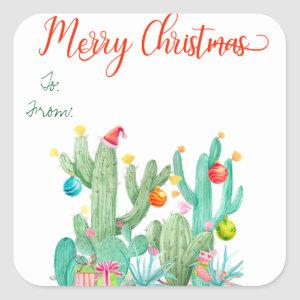 Southwest Cactus Christmas Gift Tag Sticker Label