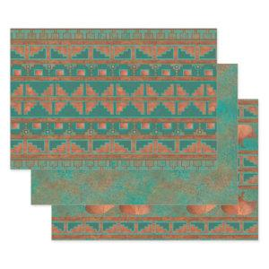 Southwest Copper Teal Geometric Pattern Wrapping Paper Sheets