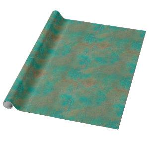 Southwest Copper Verdigris Pattern Wrapping Paper