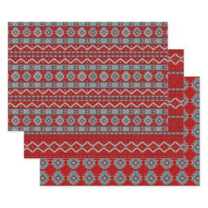 Southwest Red and Turquoise Geometric Pattern Wrapping Paper Sheets