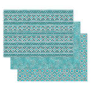 Southwest Turquoise Geometric Patterns Wrapping Paper Sheets