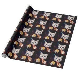 Space Cat with taco and pizza Wrapping Paper