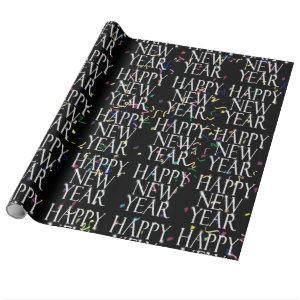 Sparkling  Happy New Year on Confetti Wrapping Paper