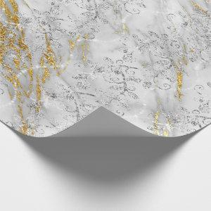 Sparkly Diamonds Marble Gold White Gray Wrapping Paper