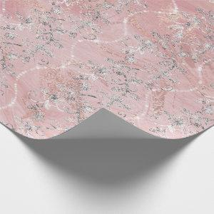 Sparkly Diamonds Marble Silver Pink Rose Gold Wrapping Paper