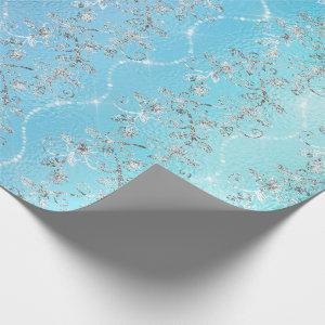 Sparkly Diamonds Silver Gray Blue Ocean Glass Wrapping Paper