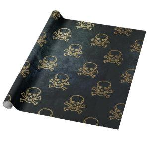 Sparkly Pirate Jolly Roger on Dark Background Wrapping Paper