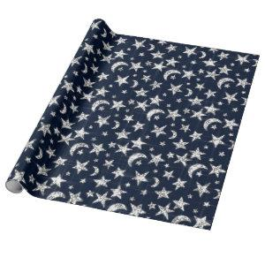Sparkly Silver Gray Grey Stars Moon Sky Blue Navy Wrapping Paper