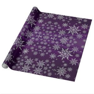 Sparkly Silver Snowflakes on Purple Wrapping Paper