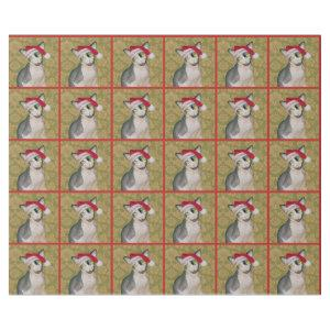 Sphynx Cat Santa Floral Christmas Wrapping Paper