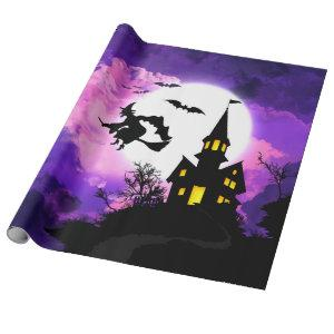 Spooky Halloween night purple sky and flying witch Wrapping Paper