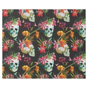 Spooky scary skulls with flowers Halloween Wrapping Paper