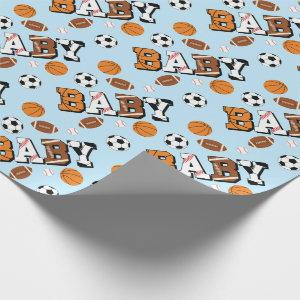 Sports Baby Shower Co-ed Theme Boy Blue Wrapping Paper