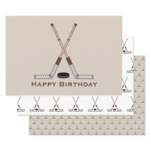Sports Crossed Hockey Sticks Puck Happy Birthday Wrapping Paper Sheets