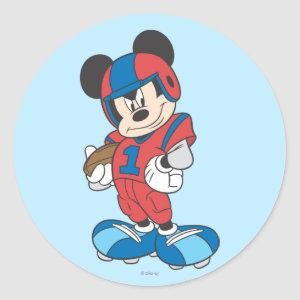 Sporty Mickey | Football Pose Classic Round Sticker