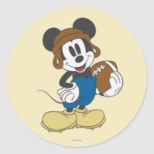 Sporty Mickey | Holding Football Classic Round Sticker