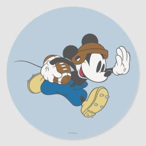 Sporty Mickey | Running with Football Classic Round Sticker