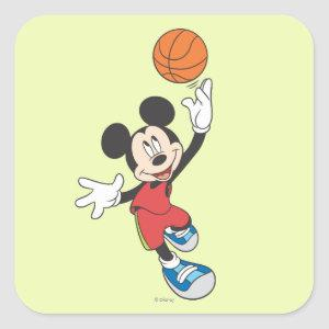 Sporty Mickey | Throwing Basketball Square Sticker