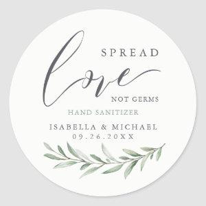 Spread Love Hand Sanitizer Greenery Wedding Favor Classic Round Sticker