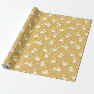 Spring Floral Bunnies Wrapping Paper