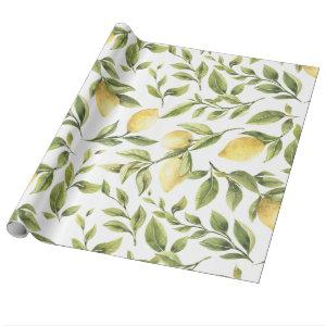 Spring Fresh watercolor yellow lemon green leaves Wrapping Paper