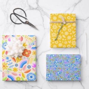 Springtime Rainbows and Dots Wrapping Paper Sheets