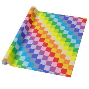 Squared Broader Spectrum Rainbow Wrapping Paper
