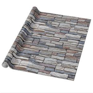 Stacked Stone Wall Wrapping Paper